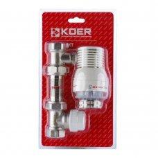 Комплект KOER KR.1321 1/2'' для подключения радиатора (прямой) с термоголовкой