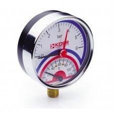 Термо-Манометр Koer радиальный 821R 6 bar, D=80мм, 1/2''