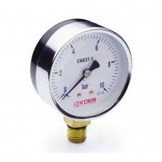 Манометр Koer радиальный 610R 10 bar, D=63мм, 1/4''