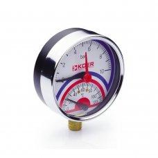 Термо-Манометр Koer радиальный 821R 10 bar, D=80мм, 1/2''