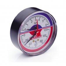 Термо-Манометр Koer аксиальный 802A 6 bar, D=80мм, 1/2''