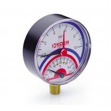 Термо-Манометр Koer радиальный 801R 10 bar, D=80мм, 1/2''