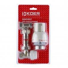 Комплект KOER KR.1320 1/2'' для подключения радиатора (угловой) с термоголовкой