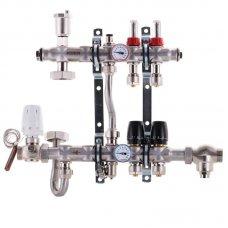 """Коллектор Koer KR.S1011-02 со встроенным смесительным узлом 1""""х2 SUS304 и евроконусами 3/4-16"""
