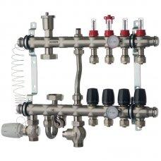 """Коллектор Koer KR.S1012-04 со встроенным смесительным узлом 1""""х4 SUS304 и евроконусами 3/4-16"""