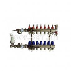 Коллектор Koer в сборе на 7 выходов (без насоса) с расходомерами и 1 сливной